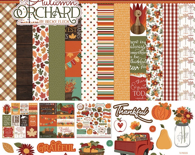 New! Photo Play AUTUMN ORCHARD 12x12 Scrapbook Cardstock Paper Collection Kit