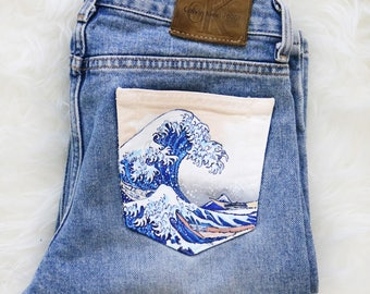 Hand painted jeans- The Great Wave off Kanagawa