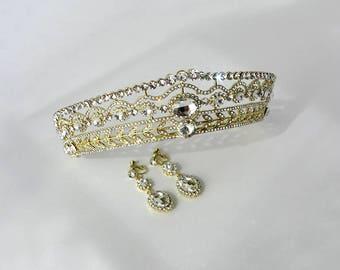 Gold tiara and earrings set, Crystal tiara,  Rhinestone dangle earrings, Wedding tiara,  Crystal crown,Pagent crown earrings set