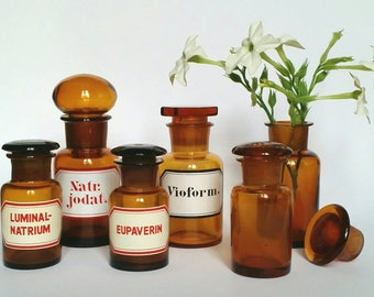 Vintage Apothecary Bottle Collection - Set of Six Brown Glass Pharmacy Jars