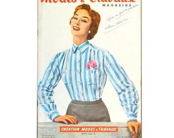 Modes & Travaux, Vintage French fashion magazine,  1956 fashion news