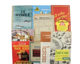 Lot of 20 vintage French recipe booklets, cookbooks and kitchen ephemera