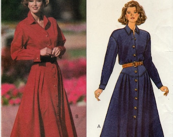 Easy Misses/Miss Petite Dress, Button Front, Long Sleeves, Butterick 6312 Sewing Pattern, Multi-Size 12, 14, 16, Uncut, Vintage Pattern