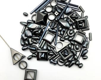 115  hematite  stone beads and frame beads,7mm to 30mm #PP094