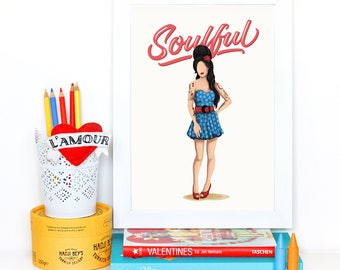 Amy Winehouse Soulful Poster, The Future is Female, Music Gift for Her, Who Run the World, Girls Pop Art, Women, Type, Feminism Art Print