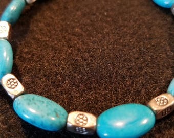 Pretty in Turquoise- Turquoise and Silver bracelet