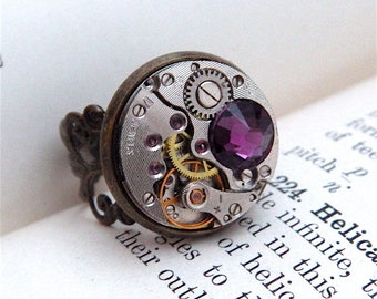 Steampunk Amethyst Ring - Vintage Clockwork Watch Movement & Swarovski Crystal