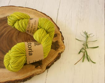 Wool 100g skein, DK, double knit, Blue Faced Leicester, hand dyed turmeric black beans, plant dyes, natural dyes, yarn, green, variegated