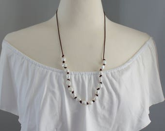 Pearl and Leather Necklace - Hand Knotted Pearl Necklace - Long Pearl Leather Necklace - Layering Necklace -