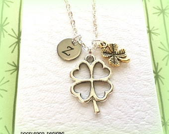 Lucky clover necklace - St. Patrick's jewellery - Good luck gift - Four leaf clover charm - Shamrock jewellery - Initial clover jewellery