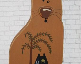 Orange Primitive Cat!  Primitive Cat with a Saltbox House and Prim Sheep.