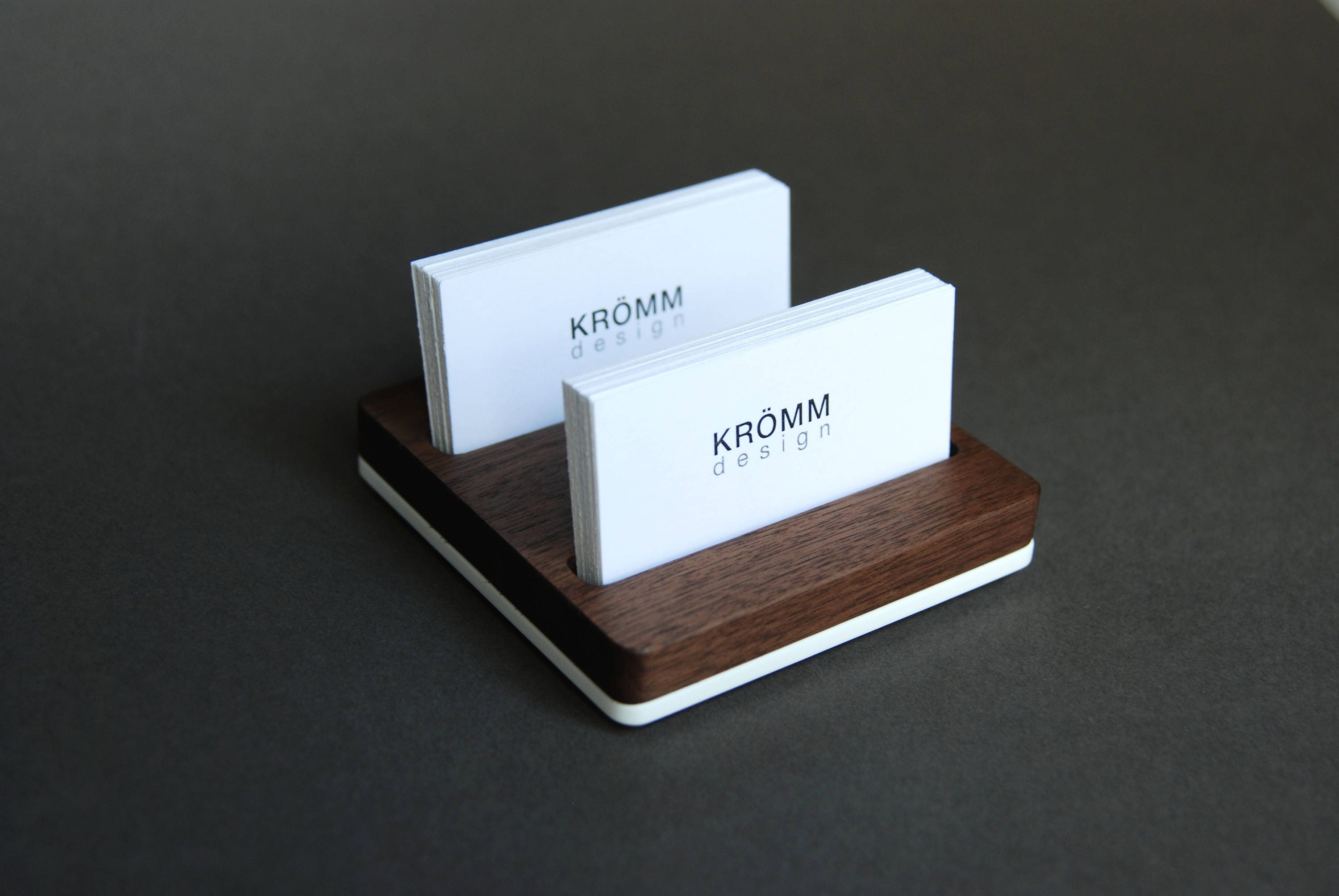Business Card Holder for Desk / Wood Business Card Stand ...