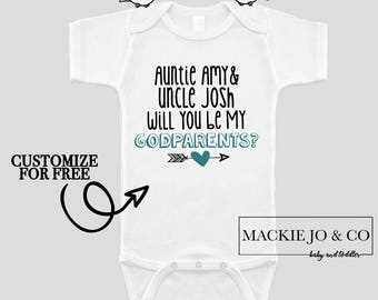 Customize Will You Be My Godparents Godmother and Godfather CUSTOMIZE NAMES and Font Color Bodysuit Boho With Arrows