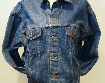 Vintage 80s Big Smith Blue Denim USA Flying Eagle Biker Jacket