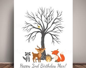 Woodland Creatures Birthday Guest Book Alternative -  Thumbprint Tree - Printed on PREMIUM Fine Art Paper