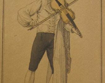 18th Century French Theatrical Color Engraving Mr Musard Comedie By Martinet - Violin Player - Free Shipping