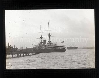 Antique Magic Lantern Glass Slide - Ship Moored at Jetty Portsmouth Harbor Hampshire England - Vintage Projector Slide