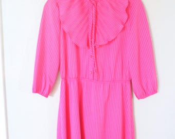 vintage hot pink and white striped ruffle secretary dress *