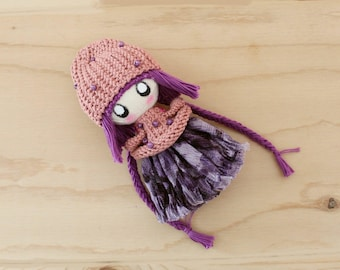 SALE Cute Little Doll Zooey, Purple Happy Doll, Birthday Gift For Girl, Stuffed Doll, Rag doll, Purple Gift, Handmade Textile Cloth Doll