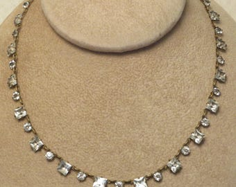 Vintage Art Deco era Czech Czechoslovakia open back bezel mount faceted square round crystal link necklace