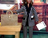 On Reserve for LG - Curvy Barbie Doll Pant Suit - Jacket, Pants, Shoes, Earrings, and Portfolio Bag for Curvy Barbie Dolls.