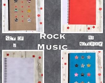Set Of 2 | ROCK MUSIC | Notebooks | Rock Star | Blank Books | Back To School | Office Notepad | Gift Idea |  Sketchbook