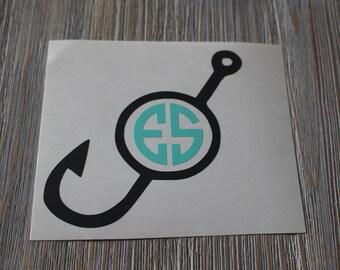 Fish Hook Monogram Car Decal - Monogram Fish Hook Car Decal - Monogram Car Decal - Monogram Decal - Fish Hook Monogram - Fish Hook - Decal