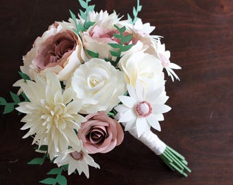 Paper Bridal or Bridesmaid Bouquet - Juliet Roses, Garden Roses, Dahlia, Cone Wildflowers - Dusty Rose, Blush, Ivory