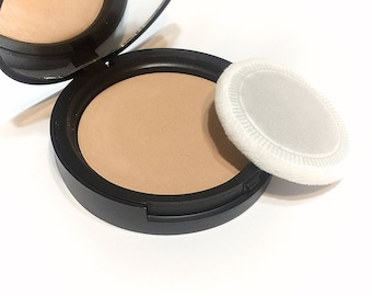 HONEY BEIGE Natural Mineral Pressed Foundation or Setting Powder - Gluten Free Vegan Makeup