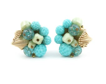 Vintage Blue Cluster Earrings, Lucite, Clip Ons, West Germany