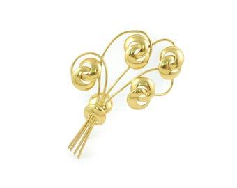 Vintage Bouquet Brooch, Gold Tone, Repair, Repurpose, R11
