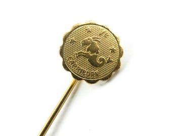 Vintage Capricorn Stick Pin, Gold Tone, Q7