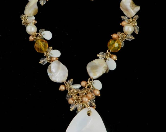 Vintage MOP Beaded Necklace, Premier Designs Shell & Beads Gold Tone Necklace