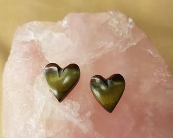 Green & Bronze Tigerseye Heart Cabochon Pair/ backed