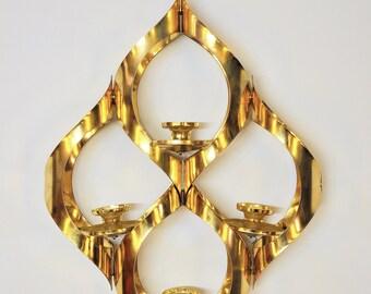 Mid-Century Modern Brass Pendant Candelabra Vintage Retro 1970s