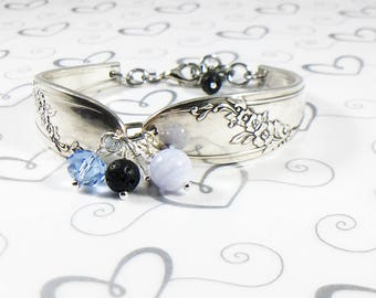 Vintage Essential Oil Spoon Bracelet - Blue Lace - Antique Silverware Bracelet - Wedding