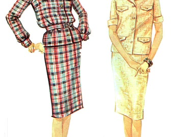 Advance 3310 Uncut Sewing Pattern Mod Womens' Vintage 1960s Wiggle Skirt And Long Or Short Sleeve Blouse