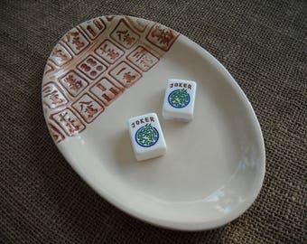 Mahjong Pottery - Mahjong Serving Plate - Oriental Plate - Mahjong Gift - Mahjong Dish - Mahjong Plate