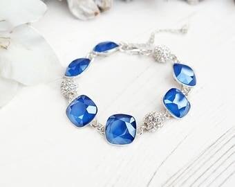 Royal blue bridal bracelet Sapphire bride bracelet Swarovski crystal wedding jewellery Sterling Silver bracelet Something blue Cushion cut