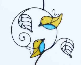 Suncatcher Stained Glass Birds Love Couple Love Home decor Gift
