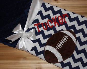 Football- Personalized Minky Baby Blanket with Embroidered Football- Navy Chevron