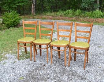 Vintage Thonet Bentwood Cafe Chair Set Of 4 Medium Wood Green Vinyl Seat  Dining Kitchen Chair
