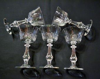 Vintage Cut Crystal Wine Glass Set of 5 Elegant Barware Stemware PanchosPorch