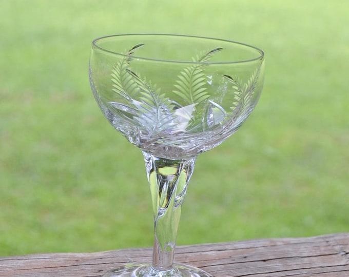 Vintage Stuart Crystal Ellesmere Cocktail Cordial Glass Set of 5 Fern Leaf Frond Twisted Stem Cut Crystal England PanchosPorch