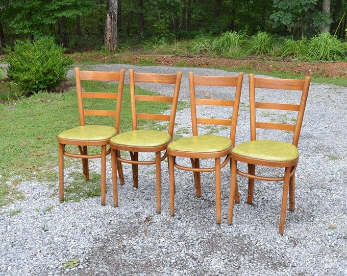 Vintage Thonet Bentwood Cafe Chair Set of 4 Medium Wood Green Vinyl Seat Dining Kitchen Chair Panchosporch