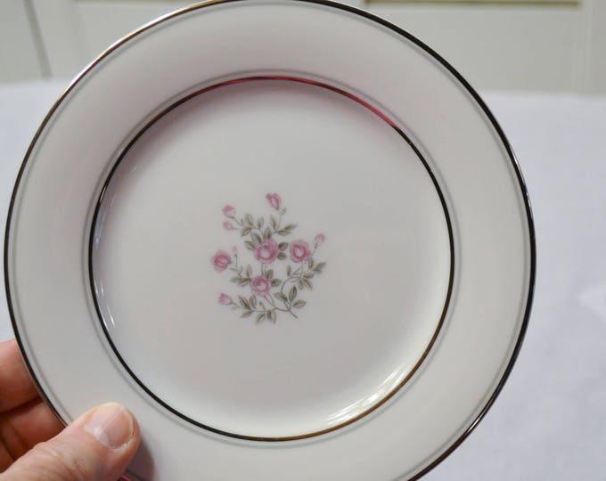 Vintage Noritake Stanton Bread Dessert Plate Pink Roses Floral Platinum Gray Rim 5407 Japan Replacement PanchosPorch