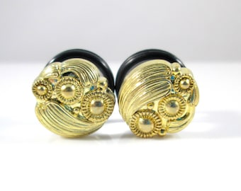 Gold Swirl Fancy Plugs - Available in 0g, 00g, 7/16 in, and 1/2 in.