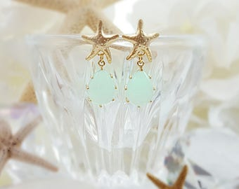 Mint Starfish Earrings, Gold Starfish Studs, Seafoam Green Teardrop Beach Bridesmaid Gift, Star Fish Wedding, Beach Bridal Jewelry, E2594