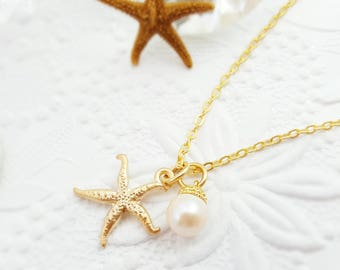 Gold Starfish Necklace - Starfish Pearl Necklace - Beach Bridesmaid Necklace - Beach Starfish - Beach Wedding Jewelry - Beachcomber N5103