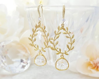 Crystal Earrings, Laurel Dangles, Clear CZ Earrings, Long Drop Earrings, Teardrop Wreath, April Birthstone, Long Gold Leaf Earrings,  E2590